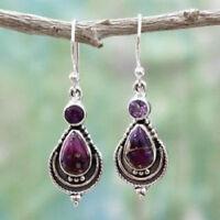 Women Boho Purple Copper Turquoise Hook Earrings 925 Silver Dangle Earring