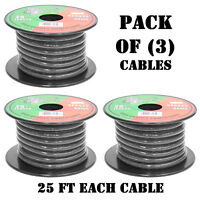 Pyramid RPB825 Ground Wire 8-Gauge OFC Cable Wire Translucent Flexible 25 Feet Black