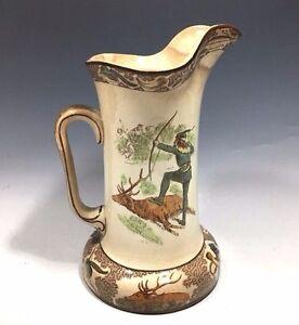"""Antique Underglaze Buffalo Pottery Pitcher Marked 1907 - 8 1/4""""H"""