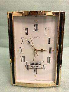 Seiko QEJ199G Alarm Clock Brass
