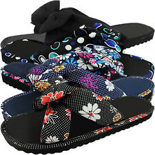 NEW WOMEN LADIES LIGHT FLAT SLIP ON FABRIC MULES SUMMER SANDALS FLIP FLOPS  SIZE 0f83311daed