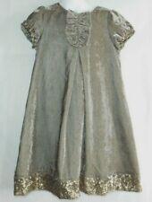 Mini Boden Brown Velvet Dress with Gold Sequins Ruffle detail Girl's sz 7-8 YRS