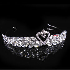 "Little Swans Adult Girl Kids Crystal Wedding Party Pageant Prom Crown Tiara 5"" W"