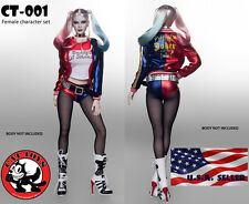 "1/6 Harley Quinn Suicide Squad Sexy Clothing Set For 12"" Phicen Hot Toys Female"