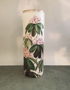 Cylinder vase tall white vase with hand painted flowers