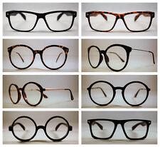 Retro Geek Vintage Cat eye New Nerd Frame Fashion Black Round clear lens glasses