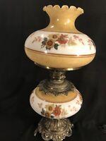 """LARGE Vintage & UNIQUE 3-Way Hurricane Parlor Lamp Floral Brown 28"""" H x 14"""" W"""