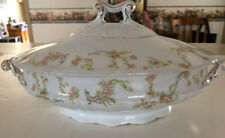 EARLY FRAUREUTH AG SAXONY GERMANY PORCELAIN OBLONG VEGETABLE DISH WHITE/FLORAL