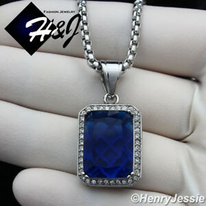 """20""""MEN Stainless Steel 3mm Silver Box Link Chain Necklace BLING Blue Pendant*P98"""