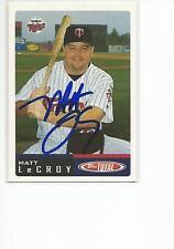 MATT LeCROY Autographed Signed 2002 Topps Total card Minnesota Twins COA