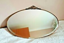 """Vintage Antique Art Deco Brass Oval Bevelled Edge Wall Mirror On Chain 26"""" x 15"""""""
