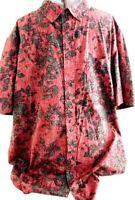 George-Mens Hawaiian Shirt, 3XL-XXXL, Red/Black Floral, Button Down Casual