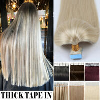 TAPE IN Remy Thick Skin Wefts 100% Human Hair Extensions 150g White Blonde USPS