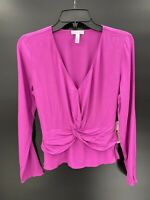 Leith Womens Size XS Knot Peplum Top Pink Orchid