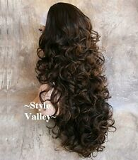 Medium Brown Mix 3/4 Fall Hairpiece Half Wig Cap Curly Long Layered Hair piece