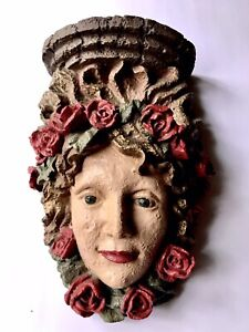 Vintage Ladies Face Surrounded By Red Roses Large Garden Resin Wall Pocket Shelf