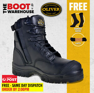 Oliver Work Boots, 45645Z, Zip, Lace-Up, Non-Metal, Composite Toe Cap Safety NEW