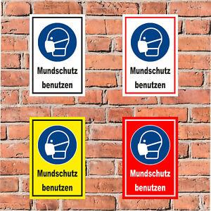 Schild Mundschutz benutzen - in 4 Größen Hygiene Infektion Labor - S00225-041