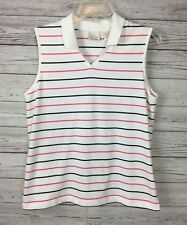 EP PRO Women's 100% Cotton Striped Sleeveless Golf Top Size Large