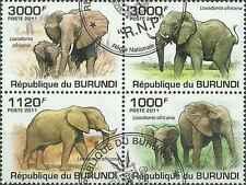 Timbres Animaux Eléphants Burundi 1213/6 o année 2011 lot 4273 - cote : 18 €