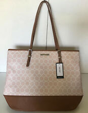 NEW! NINE WEST BLAKE BLUSH PINK TRUFFLE BROWN SATCHEL SHOPPER TOTE BAG $89 SALE
