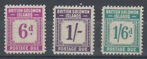 SOLOMON ISLANDS 1940 POSTAGE DUES 6d. 1/- 1/6d. MINT (ID:239/D60333)