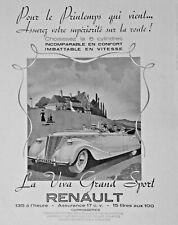 PUBLICITÉ DE PRESSE 1939 AUTOMOBILES RENAULT LA VIVA GRAND SPORT