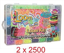 5000 Loom Bands Bracelet Making Multi Glitter Rubber Bands Charms Kit Gift Box