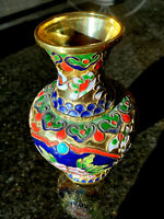 "6"" Tall Vintage Chinese Cloisonné Enamel Brass Vase with Handcrafted Design"