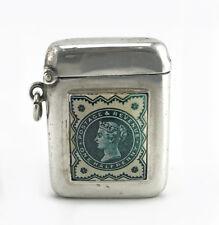 Antique 1929 British Silver and Enamel Vesta Case Match Safe