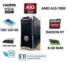 PC DESKTOP GAMING AMD A10-7800 - SSD 120GB - 8GB RAM RADEON R7 HDMI ASSEMBLATO