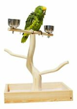 Portable Bird T Stand Raw Wood Pet Parrot Training Play Perch Playstand With Cup