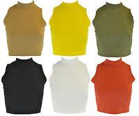 New Womens Plain Ribbed Sleeveless Turtle Neck Ladies T-Shirt Crop Top 8 - 14