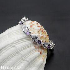 "Xmas Sale Hermosa New 925 Sterling Silver Purple Amethyst Topaz Bracelet 7"""