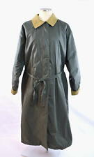 Vintage WOOLRICH Green Coated Cotton Wool Lined Trench Rain Coat Duster Jacket L
