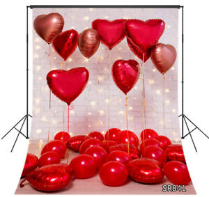 Valentine's Day Heart Balloons Brick Wall 5x7ft Backdrop Vinyl Photo Background