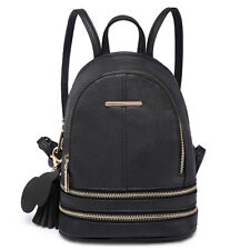 Ladies Girls Small Plain PU Leather Backpack School Shoulder Bag Travel Rucksack