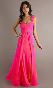 Long Chiffon Bridesmaid Dress Prom Party Cocktail Evening Ball Gown CORAL PINK