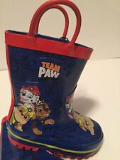 Paw Patrol Boys Rain Boots Team Paw Size 5/6 Blue & Red NEW Water Proof