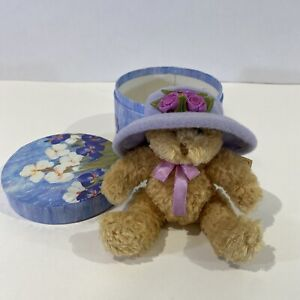 VINTAGE TEDDY BEAR LAVENDER HAT IN FLORAL HAT BOX...sold by Avon