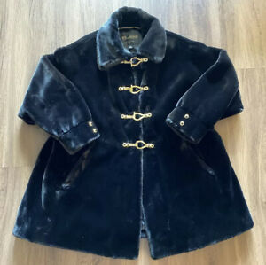 St. John Faux Fur Black Coat Collection by Marie Gray Jacket Size Medium M Italy