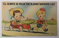 Vtg Linen  I'll Be Pulling For Ya Honey Children Postcard