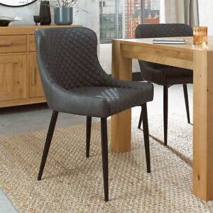 New Bentley Designs Grey Faux Leather Diamond Stitch Dining Chair, 2 Pack  C47-9