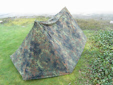 Genuine German Military 2 Man Pup Tent canvas bushcraft Preppers Army Flecktarn