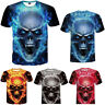Plus-size Men's 3D Skull Print Summer Short Sleeve T-Shirts Blouse Casual Tops