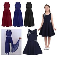Kids Flower Girls Romper Dress Rhinestone Maxi Party Dance Wedding Formal Dress