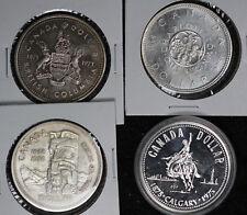 Four Canada Silver Dollars - 1958, 1964, 1971, 1975