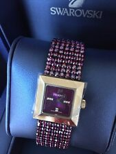 NIB $625 Swarovski Elis Amethyst Crystal Watch Discontinued RARE