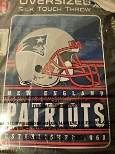 "NFL Football New England Patriots Blanket 60"" X 80"" Microfiber Silk Touch Plush"