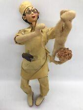 "FAB! Vintage 60's Nistis Klumpe Roldan Felt Character Doll Doctor w Baby 10.5"""